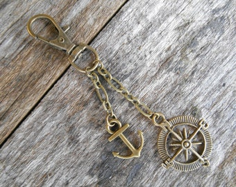 """Metal Compass Rose and Anchor Backpack Purse Tote Charm - Antique Bronze 3 1/2"""" (9 cm) long, Steampunk, Keychain, Boat, Nautical, Pirate"""