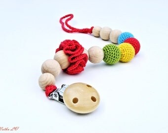 Pacifier clip, crochet pacifier holder, dummy chain, rainbow crochet beads, natural teething toy, toy holder, eco-friendly, gift for baby