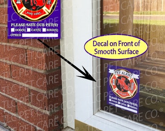 """PET FIRE EMERGENCY Front of Surface Home Alone Safety Alert Rescue Emergency Pet Dog Cat 4"""" x 5"""" Glass Window Decal Cling ice Sticker"""