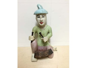Vintage Asian Thai Hand Carved Wooden Statues of Musician