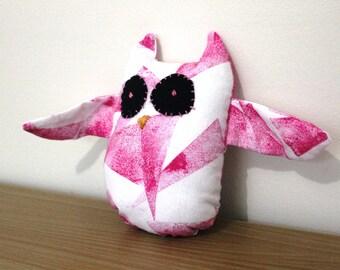 Pink handmade owl soft toy