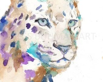 Leopard Watercolor Print, Leopard Painting, Print of Leopard, Jungle Art, Nursery Art, big Cat Art, Abstract Leopard Painting, Animal Art