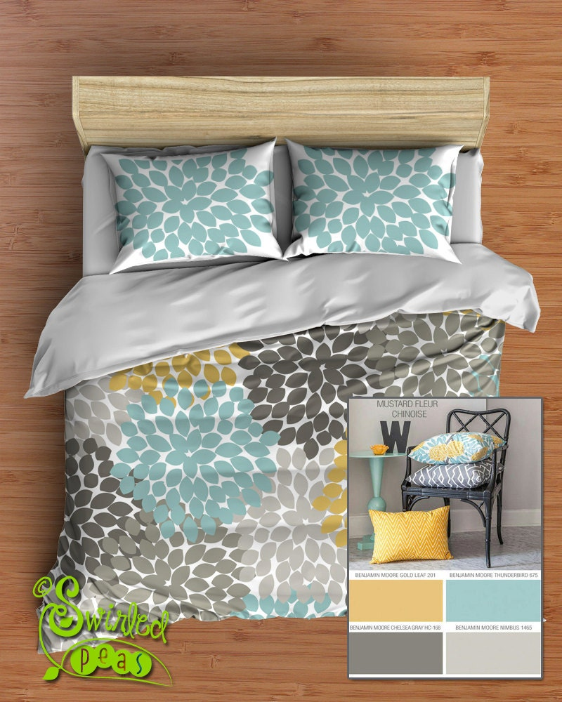 Yellow and gray floral bedding -  Zoom