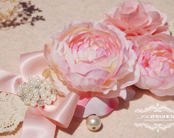 Beautiful pink flowers collar for lovely dog. handmade cute pink Bow dog wedding collar.Birthday gift for dog