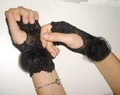 Black Lace fingerless gloves, size M  Wedding Gloves with organza flowers Made to order