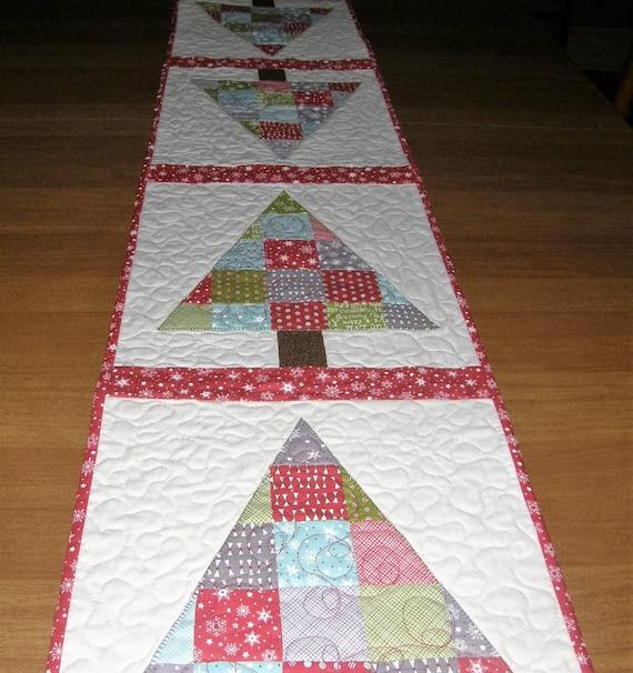 Christmas Tree Table Runner Quilt Pattern: Christmas Tree Quilted Table Runner Quiltsy Handmade