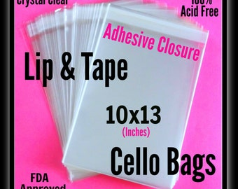 100 ( 10 x 13 ) Lip & Tape Cello Bags .. Clear Bags, Self Sealing, Cello Bags, Adhesive Cello Bags, Adhesive Print / Photo Sleeves 10x13