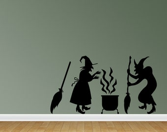 Wall Decal Halloween Scene Witch Decor Witch Decal Witches Brew Broom Halloween Decor Halloween Decal Wall Sticker (CL107)