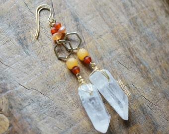 Crystal Quartz + Hexagon Charm Earrings, Orange Yellow Coral Beads, Gypsy Moonchild Gift For Her, Earrings