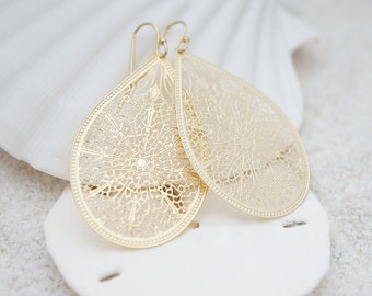 Intricate Cathedral Teardrop Filigree, Bohemian Chic Earrings, Modern Everyday Jewelry, Simple, Gift For Her, Earrings