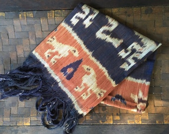 Vintage Ikat, Textile, Mint, NOS, 1970s, Brown, Rust, Indonesia