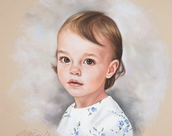 Pastel portrait, Portrait painting of a girl, Children portraits and Pastel portraits, custom portrait, Commissioned Pastel portrait.