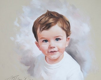 Pastel portrait of a little boy, Portrait painting