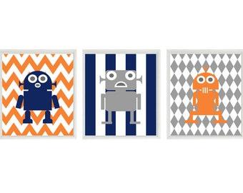 Robot Wall Art, Baby Boy Nursery Prints, Robot Nursery Decor, Orange, Navy Blue, Gray, Big Boy Room, Toddler Room, Boy Wall Art, Chevron