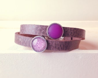 Cuoio leather bracelet violet