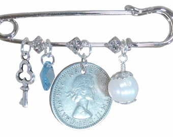 Key, Round Blue Crystal, Six Pence, and White Pearl Bridal Pin