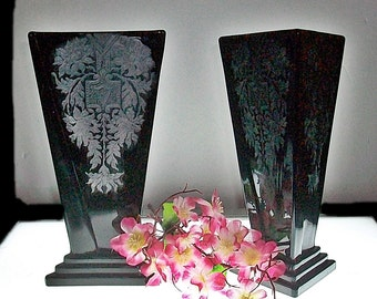 Matching Pair Of New Martinsville Modernistic Etched Vases ~ Ebony