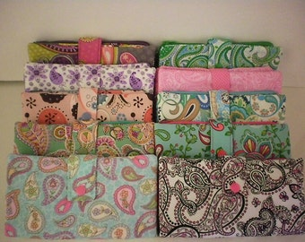 Fabric wallet with zipper compartment, 16 card slots, 2 hidden pockets - paisley prints