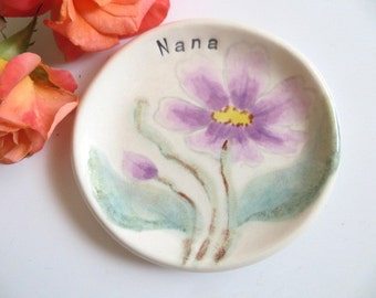 Gift for Nana, ring dish, wedding ring holder, lavender purple flower, hand painted pottery, Fine Art Ceramics, Gift Boxed, IN STOCK