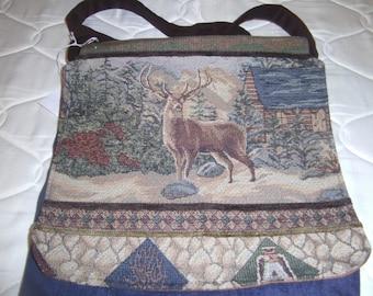 Upholstery Deer Heavy duty denim velour messanger bag carryall  purse