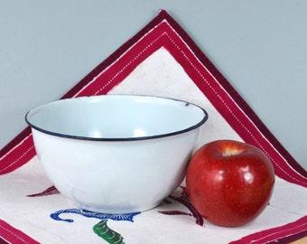 Old White Enamelware Picnic Serving Bowl w Dark Blue Trim   Rustic 6 + inch Graniteware Mixing / Serving Dish   Vintage Metal Dinnerware