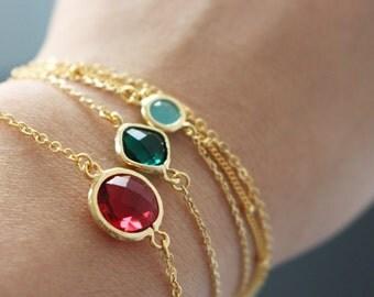 Gold framed glass crystal dainty bracelet // Ruby crystal bracelet /// Red crystal bracelet