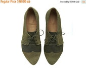 LAST SIZES SALE Olive oxford shoes, Polly Jean, handmade, Green flats, leather shoes, by Tamar Shalem on etsy