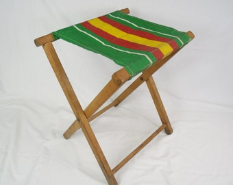 Vintage Camp Chair stripe Canvas folding chair mid century fishing stool mid century camping