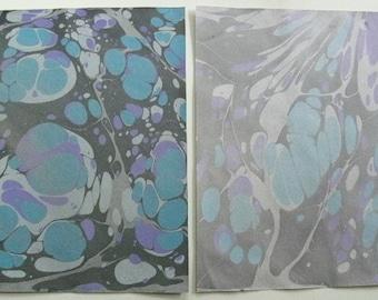 "Hand Marbled Caslon ""Mi-Teintes"" Paper Set 2016-5f, 9 x 12"""