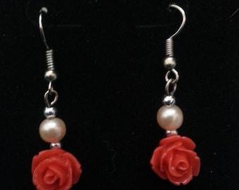 Rose Earrings (pink)