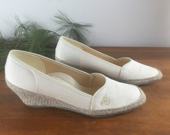 Famolare Vintage 70's Jute Wedge Espadrilles Shoes Made in USA Size 7 1/2N