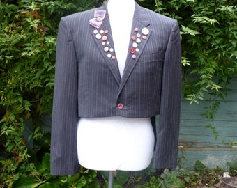 "womens upcycled Tail coat pinstripe jacket .size 42"" UK size 18"