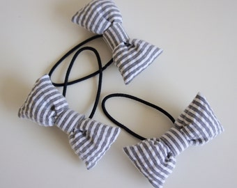 Grey Stripe Ribbon Elastic