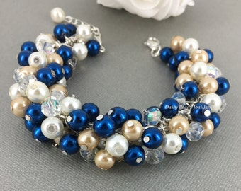 Chunky Bracelet, Navy and Champagne Bracelet, Light Champagne Bracelet, Bridesmaid Bracelet, Navy and Champagne Wedding, Bridesmaid Gift