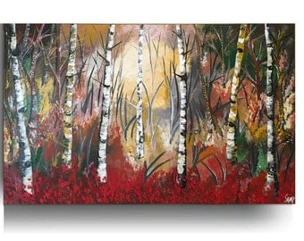Abstract Birch Painting on Canvas Forest painting canvas wall birch Art Landscape painting birch Tree painting jungle wall art  by Sami