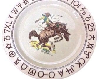 3 - Wallace China Original Rodeo Western Cowboy Dinner Plates Mid Century Till Goodan Rustic Ranch Style