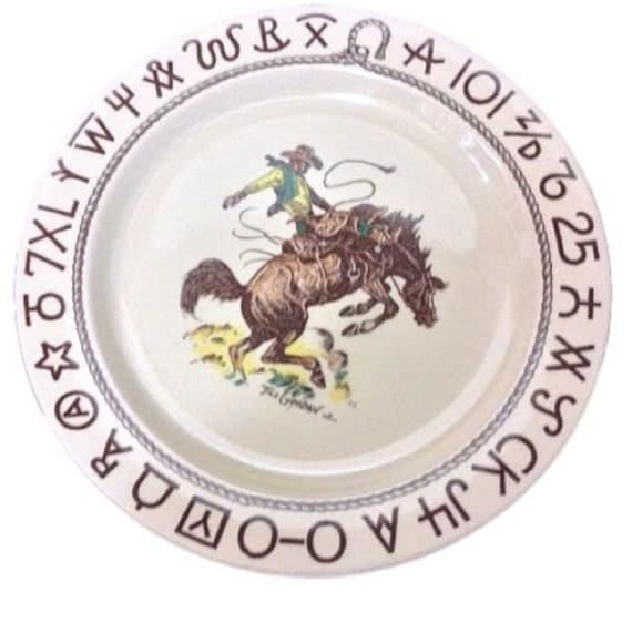 Wallace China Westward Ho, Cowboy Dinnerware Plate, Restaurant Plate, Casual Dinnerware Mid Century