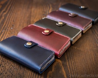 "BUILD-YOUR-OWN - iPhone 6+ & 7+ (5.5"") cell phone wallet case with snap closure in Horween leather"