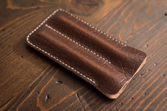 Double Pen Sleeve, pen case - brown textured Horween Chromexcel