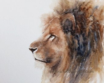for him watercolor animal painting watercolor painting lion painting lion print lion art print ATC SMALL Artist Trading Card brown
