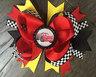Lightning McQueen Cars hair bow clip