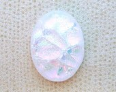23x30mm Fused Dichroic Glass Cabochons - Opal of Pink/Gold/Green Special Color - TR665