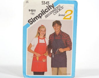 Vintage 1981 Simplicity Printed UNCUT Apron Pattern - Beginner's Choice/Level Two - One Size - No. 5343 With Original Sleeve - Complete