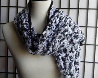 Black. Gray & White Crochet Scarf