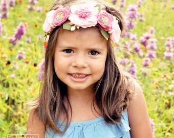 Felt Flower Crown - Pink Flower Crown - Flower Girl Headband and Wedding Photo Prop for Babies, Toddlers & Adults