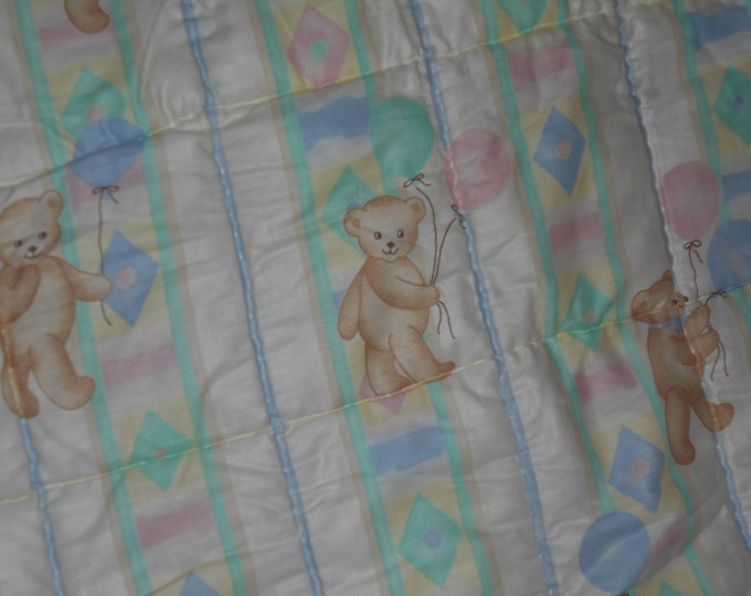 Vintage Children Teddy Bear Quilt , Baby Teddy Bear Quilt or Lap Quilt
