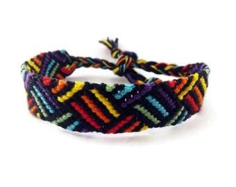 Friendship Bracelet, Macrame, Woven Bracelet, Wristband, Knotted Bracelet - Wide Rainbow Bracelet