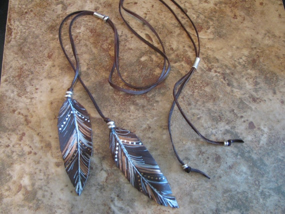 Hand Painted Leather Feather Necklace, Pendant, Brown Leather & Silver, Adjustable