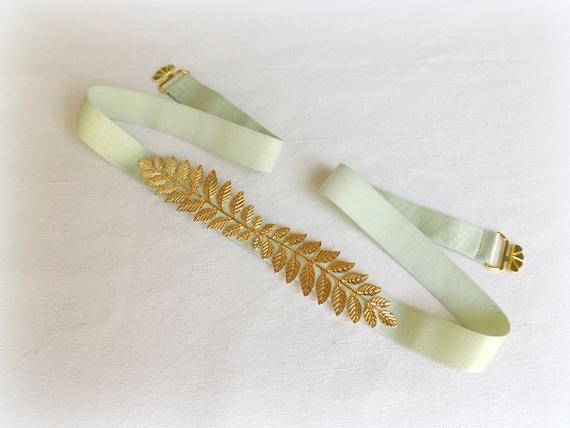 Grecian leaf belt. Elastic waist belt. Mint green dress belt. Bridal/ bridesmaid wedding belt. Greek style belt.