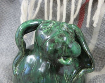 Bodacious Bunny Sculpture in Malachite Glaze